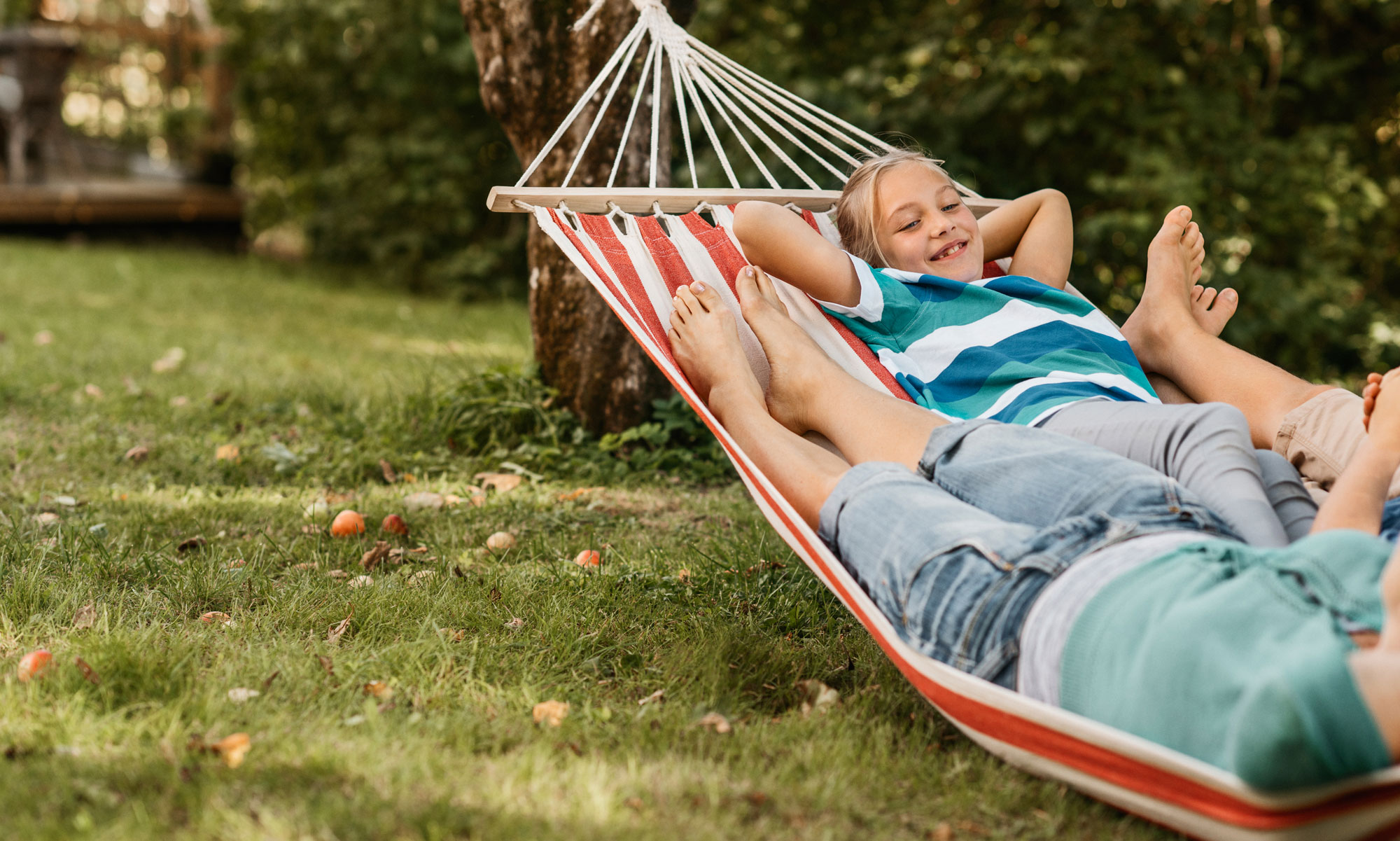 Children in hammock.